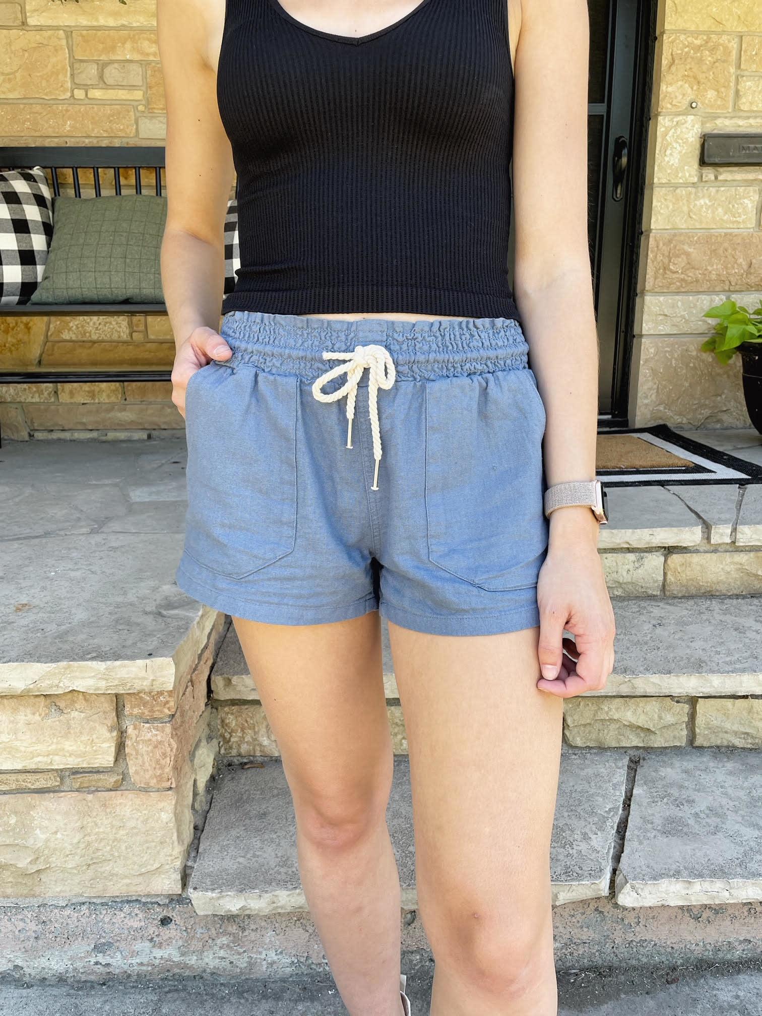 Blue Stone Drawstring Shorts