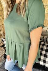 Luna Green Button Back Blouse