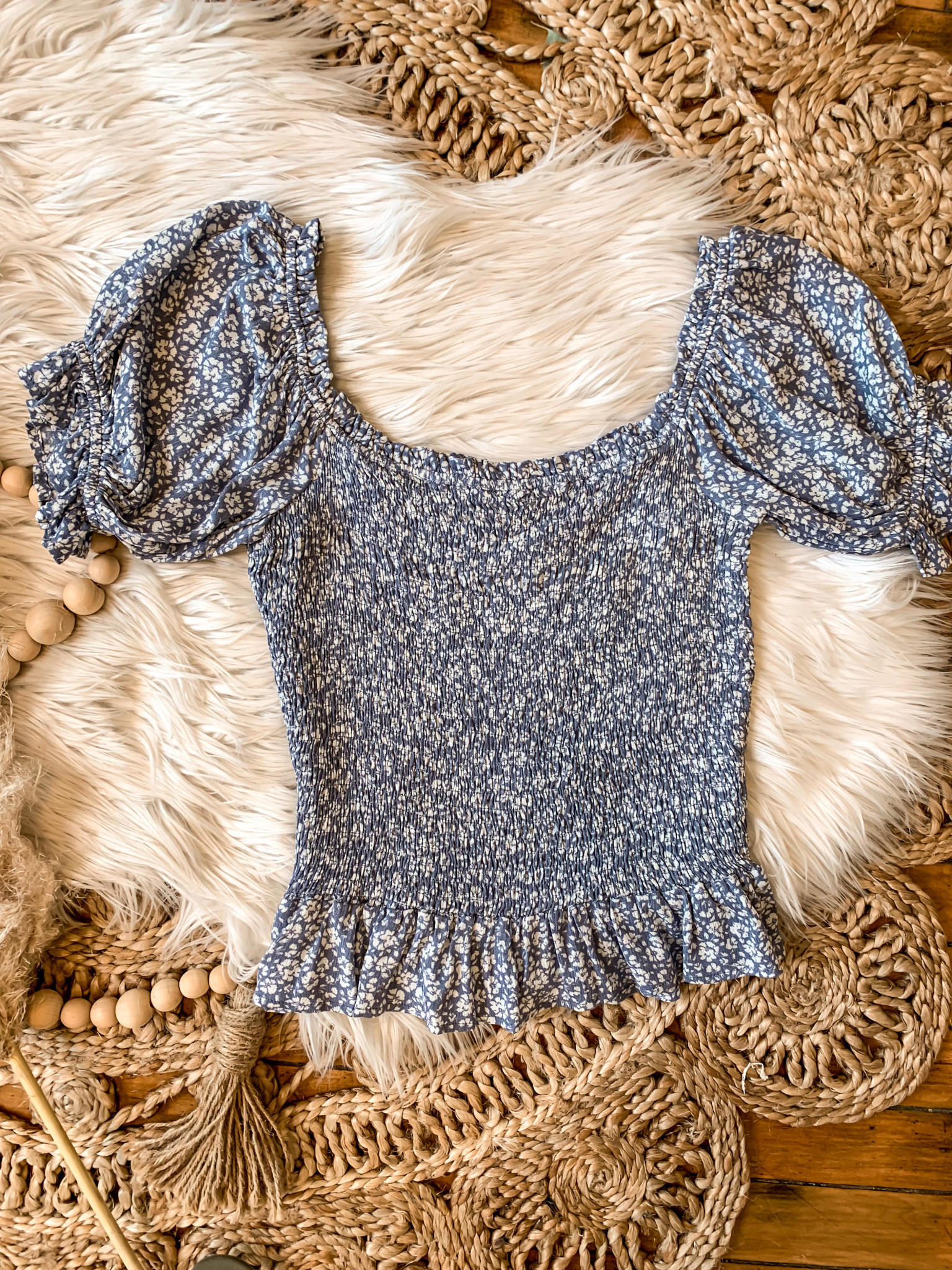 Claire Blue Smocked Blouse