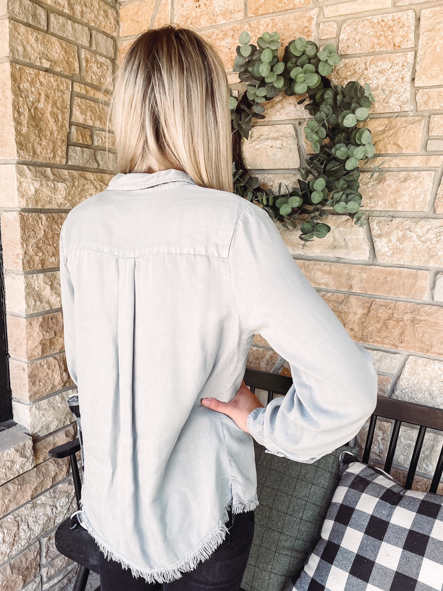Chantel Frayed Stone Shirt