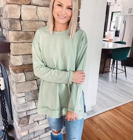 Ashlyn Sage Side Slit Sweatshirt