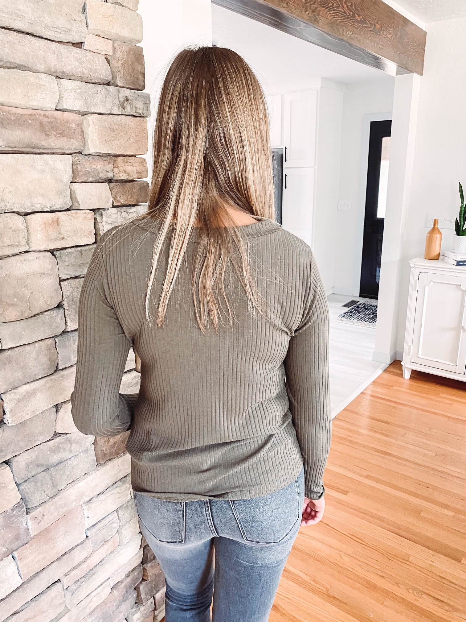 Addy Olive Ribbed Henley