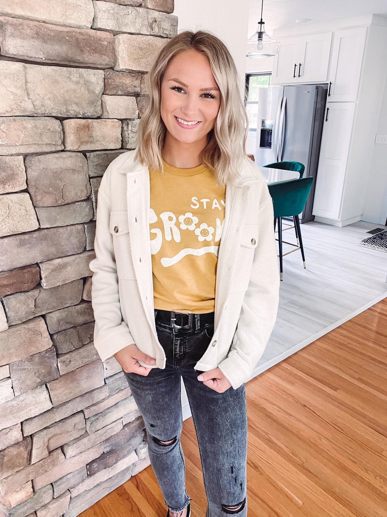 Aria Ecru Button Up Jacket
