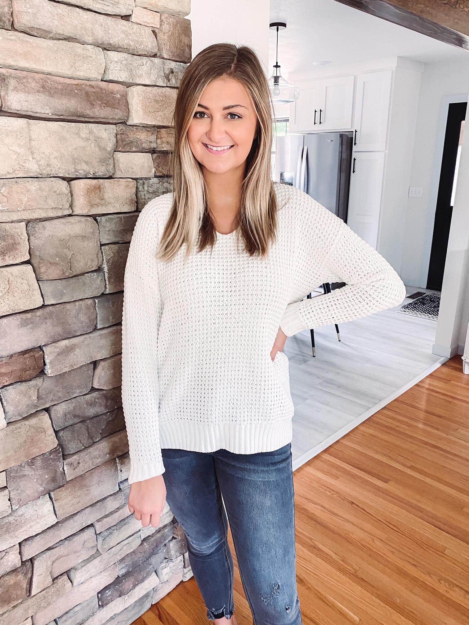 Jayda White Waffle Knit Sweater