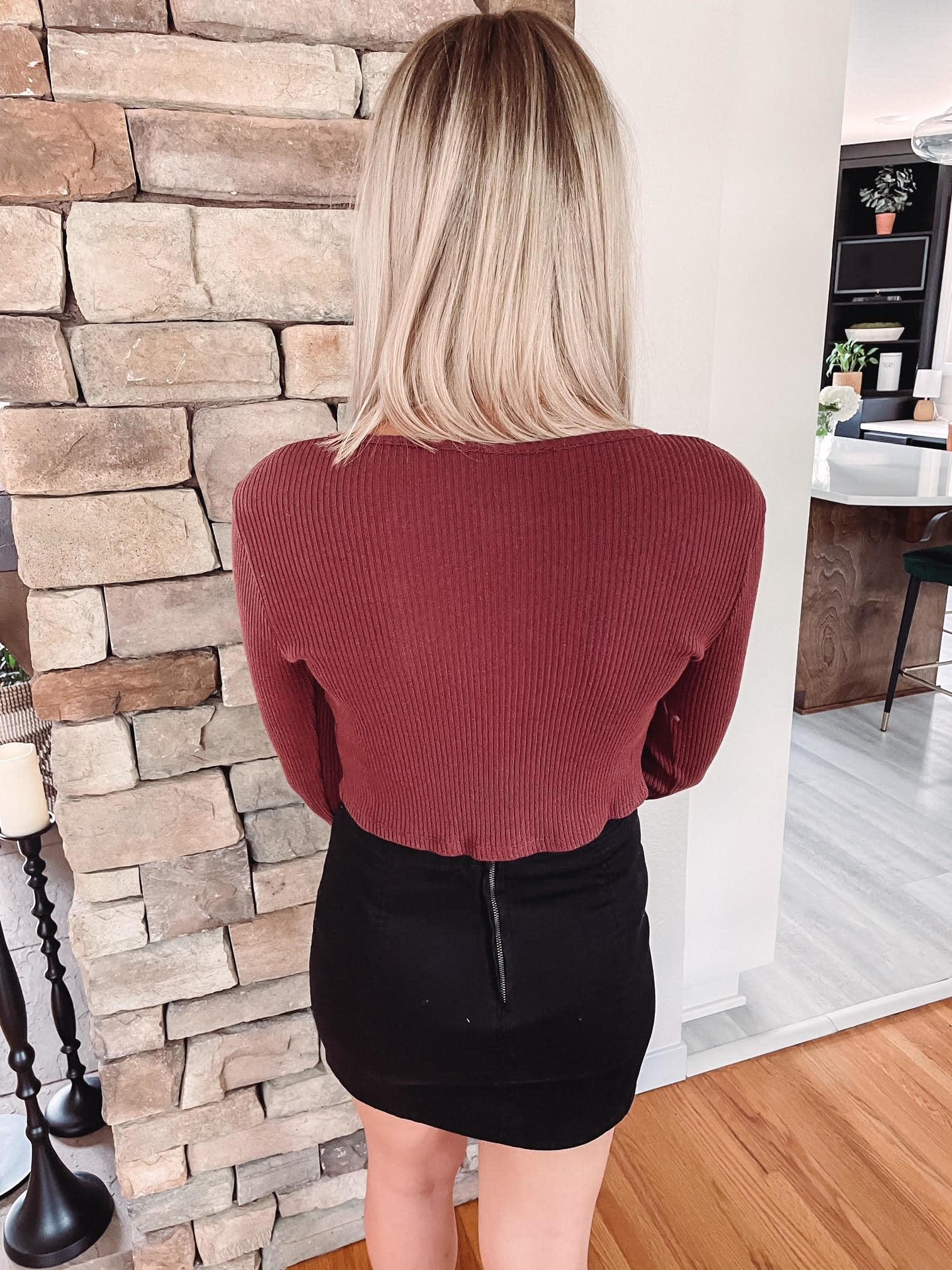 Leslie Brick Button Up Sweater