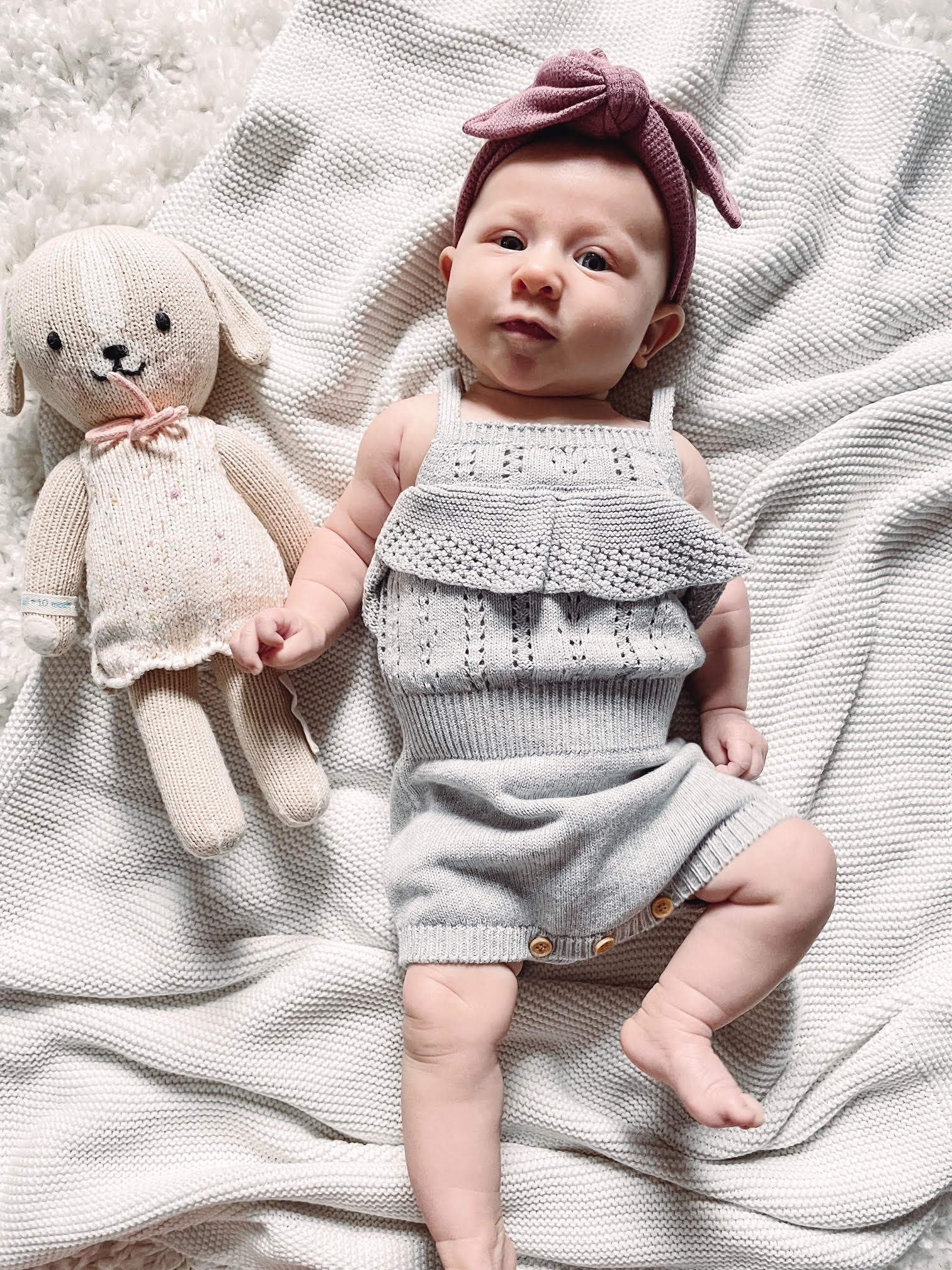 Knitted Grey Infant Jumpsuit