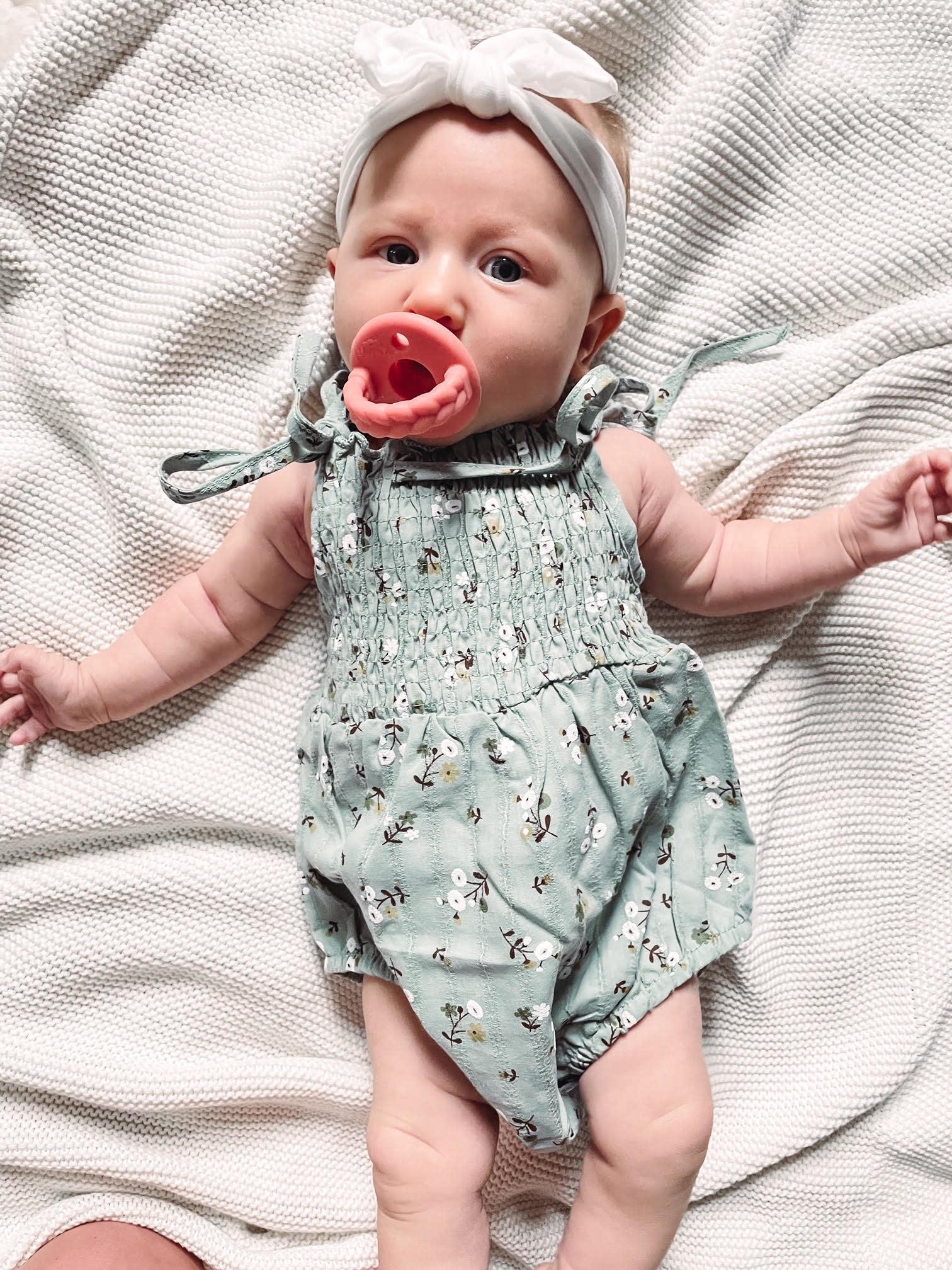 Smocked Floral Sage Infant Romper