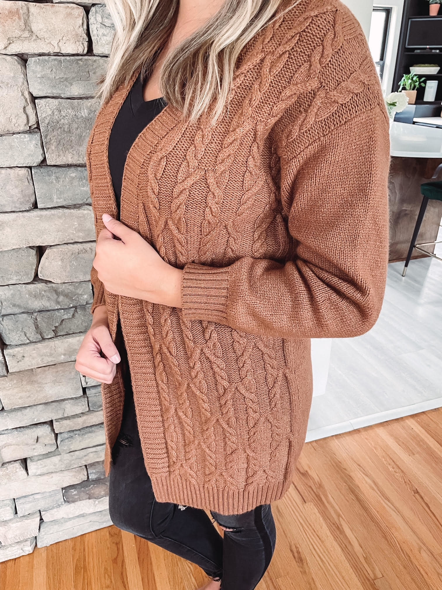 Laney Rust Cable Knit Cardigan