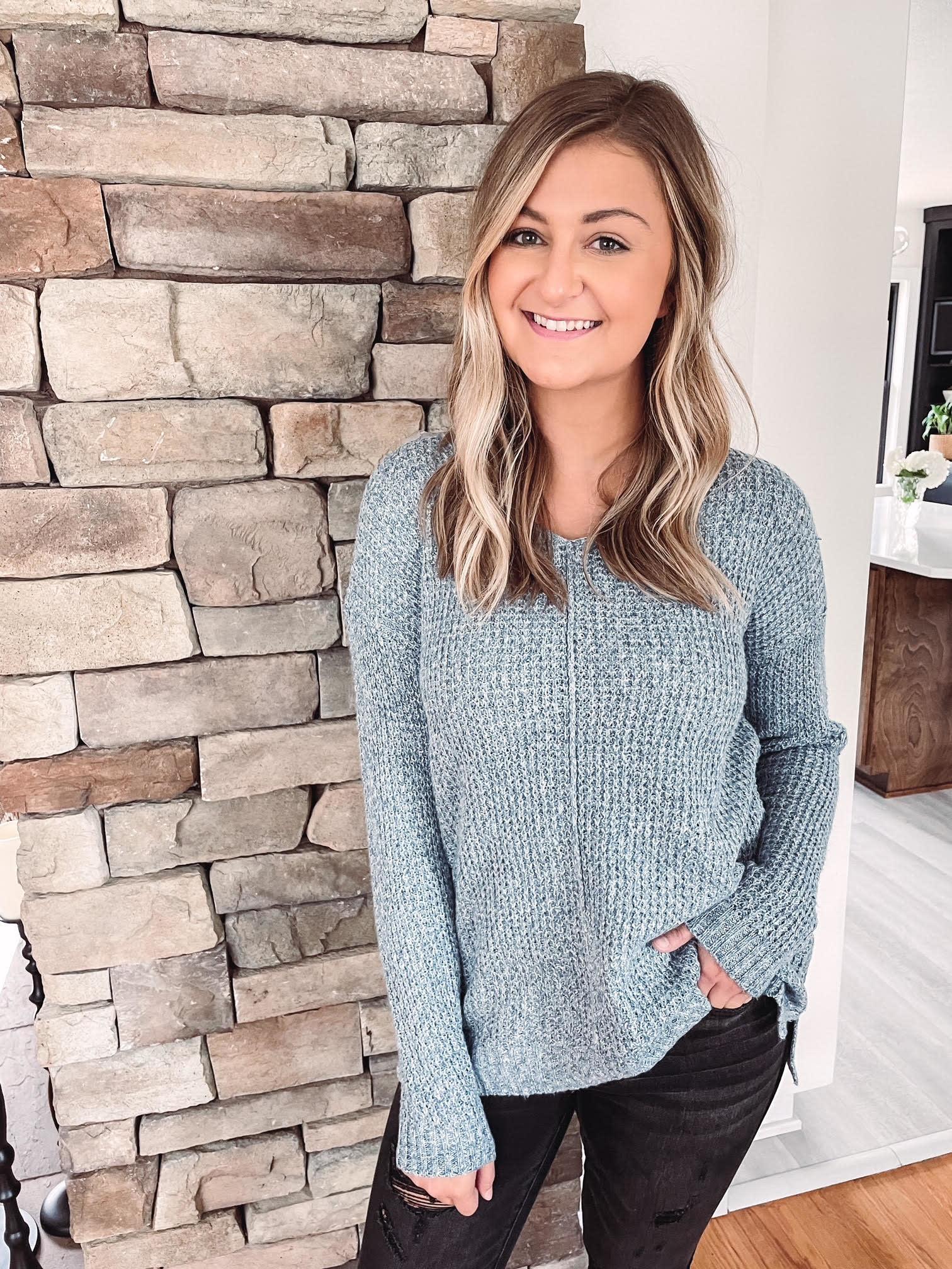 Amelia Slate Waffle Knit Sweater