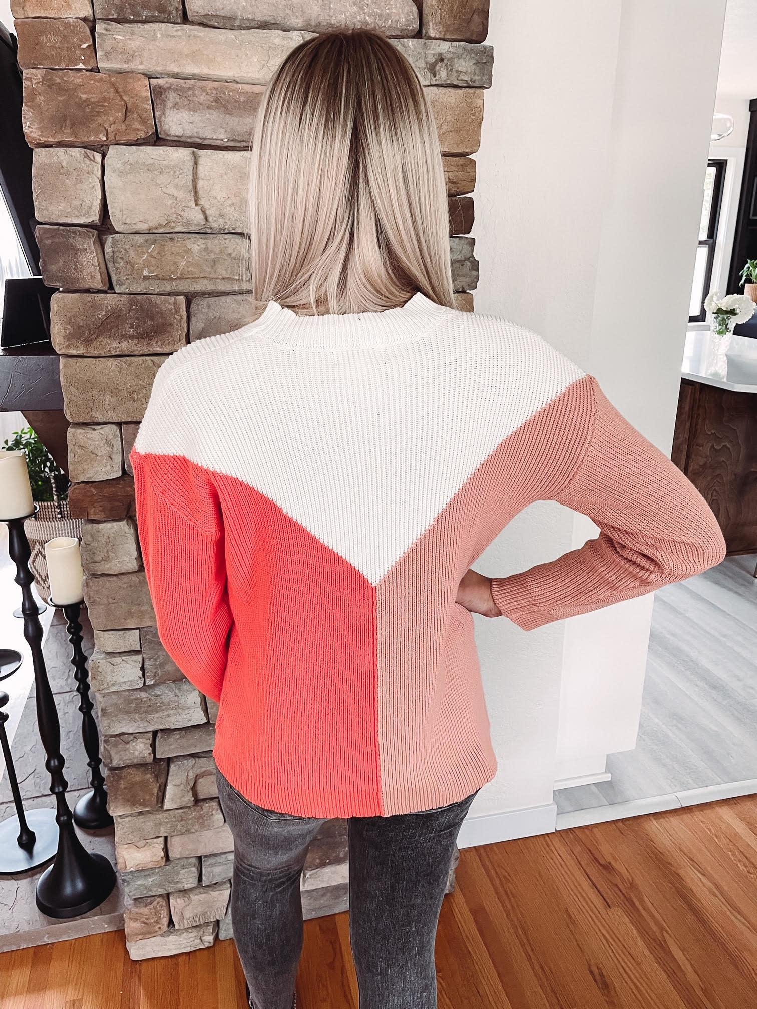 Sadie Coral Colorblock Sweater