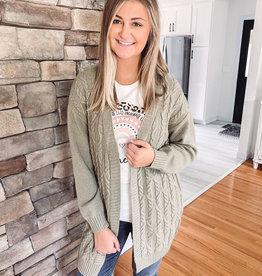 Laney Sage Cable Knit Cardigan