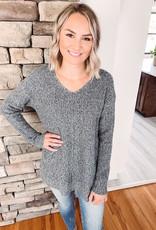 Amelia Charcoal Waffle Knit Sweater