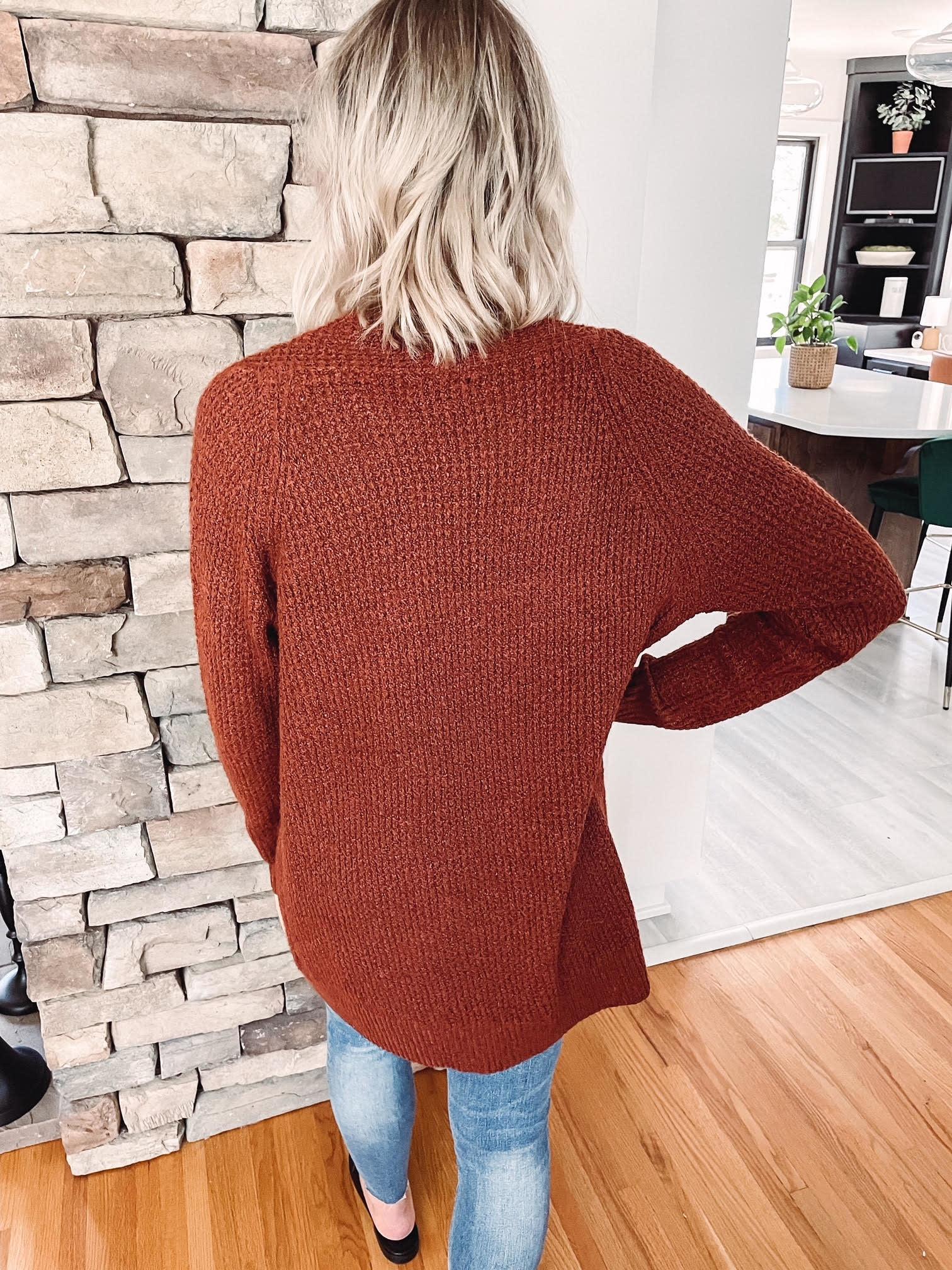Charlie Rust Waffle Knit Cardigan