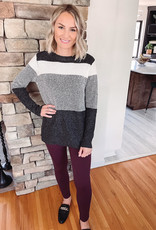 Charcoal + Ivory Striped Sweater