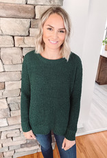 Emersyn Forest Waffle Knit Sweater