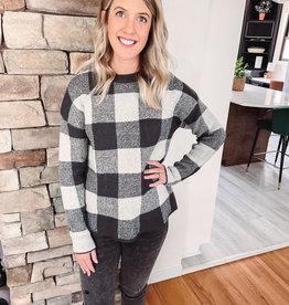 Amy Charcoal Buffalo Plaid Sweater
