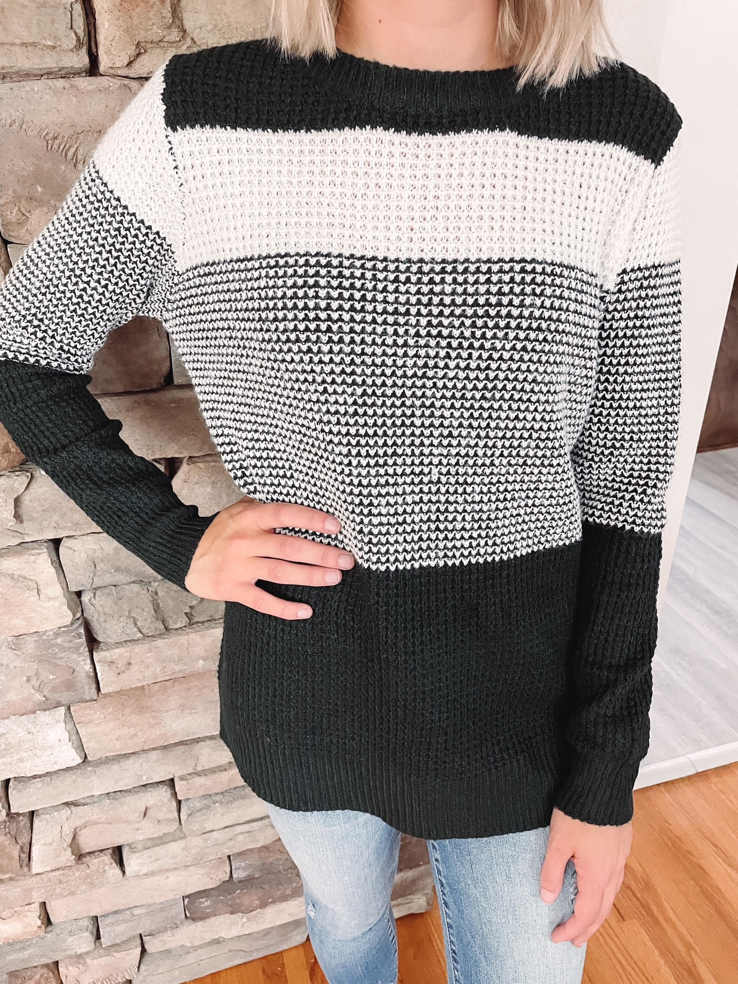 Forest + Ivory Striped Sweater