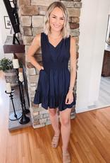 Kaley Navy Ruffled Dress