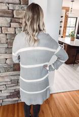 Megan Grey Striped Cardigan