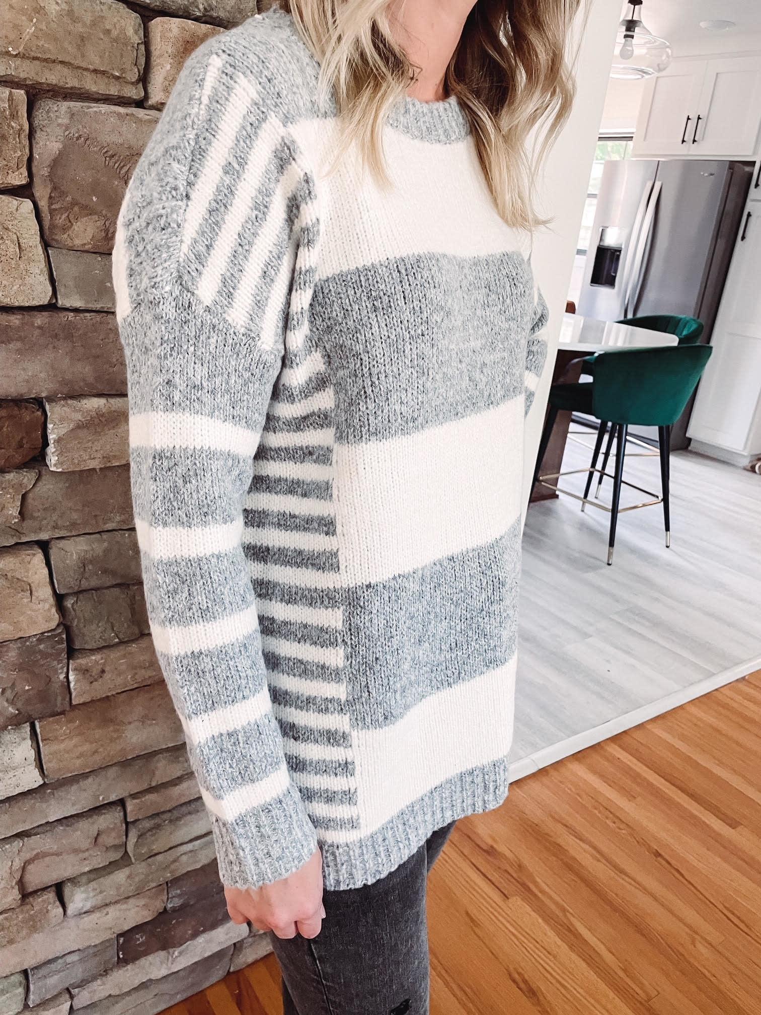 Harley Grey Striped Sweater