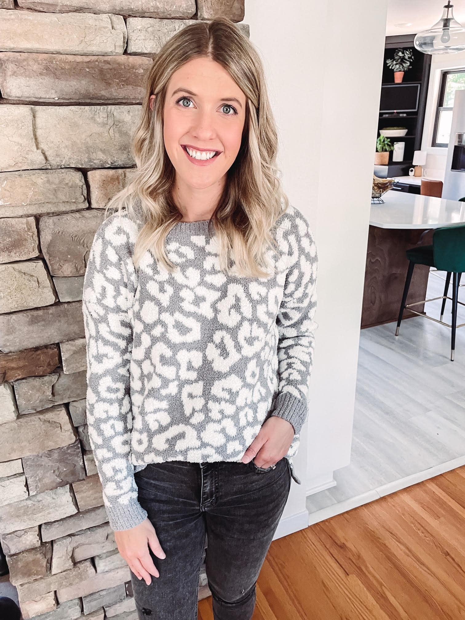 Grey + White Animal Print Sweater