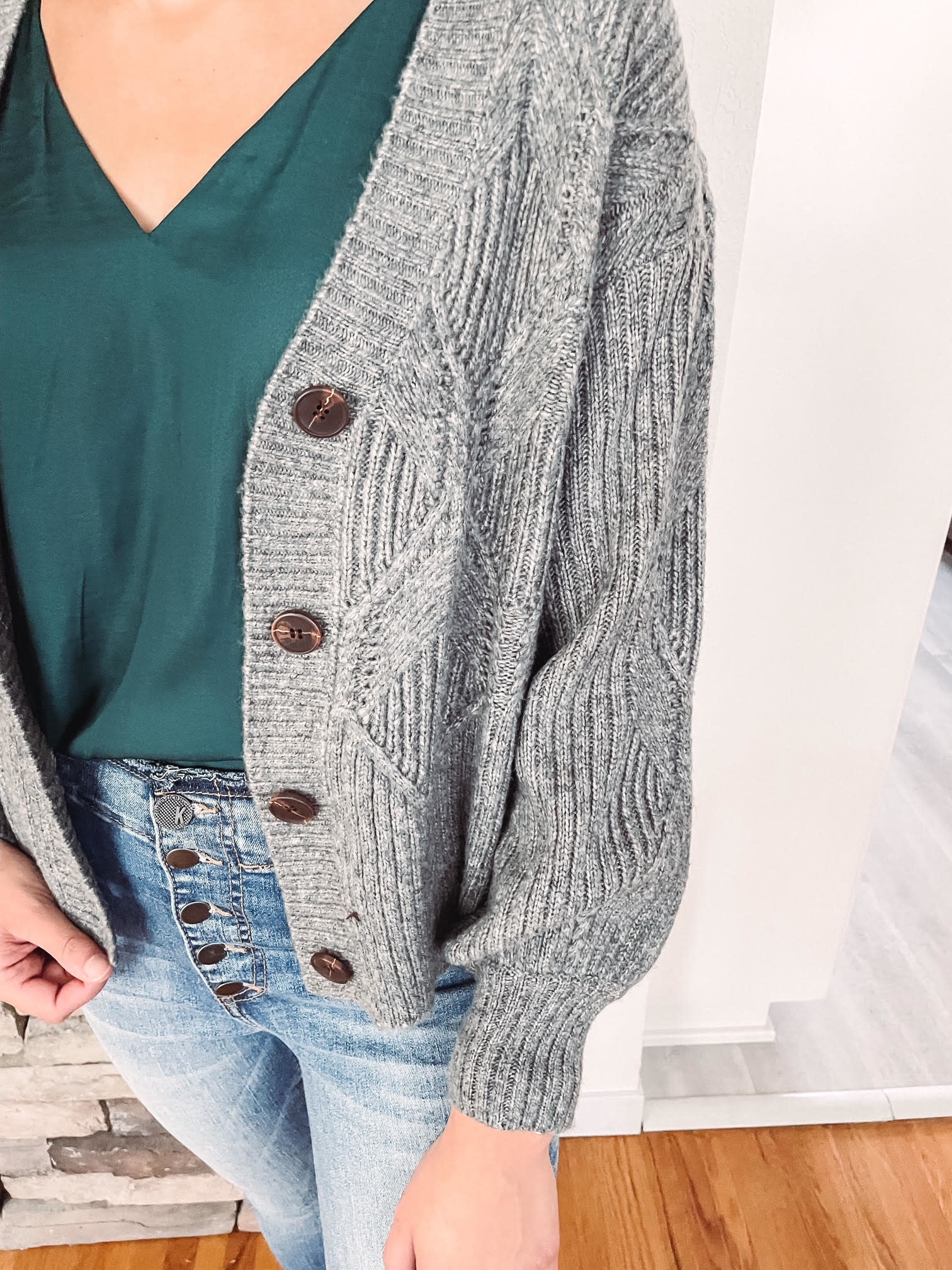 Meg Charcoal Cable Knit Cardigan