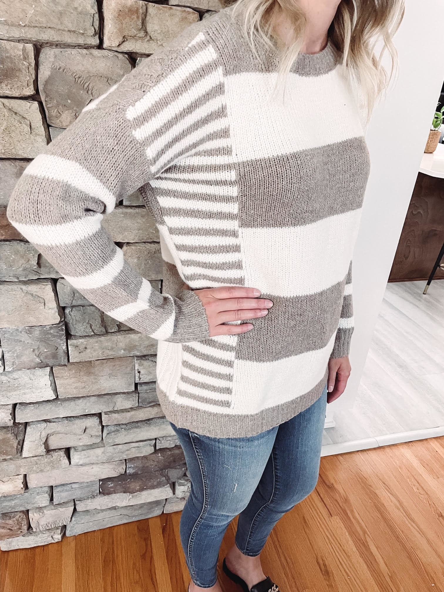 Harley Taupe Striped Sweater