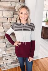 Kendall Striped + Burgundy Hoodie