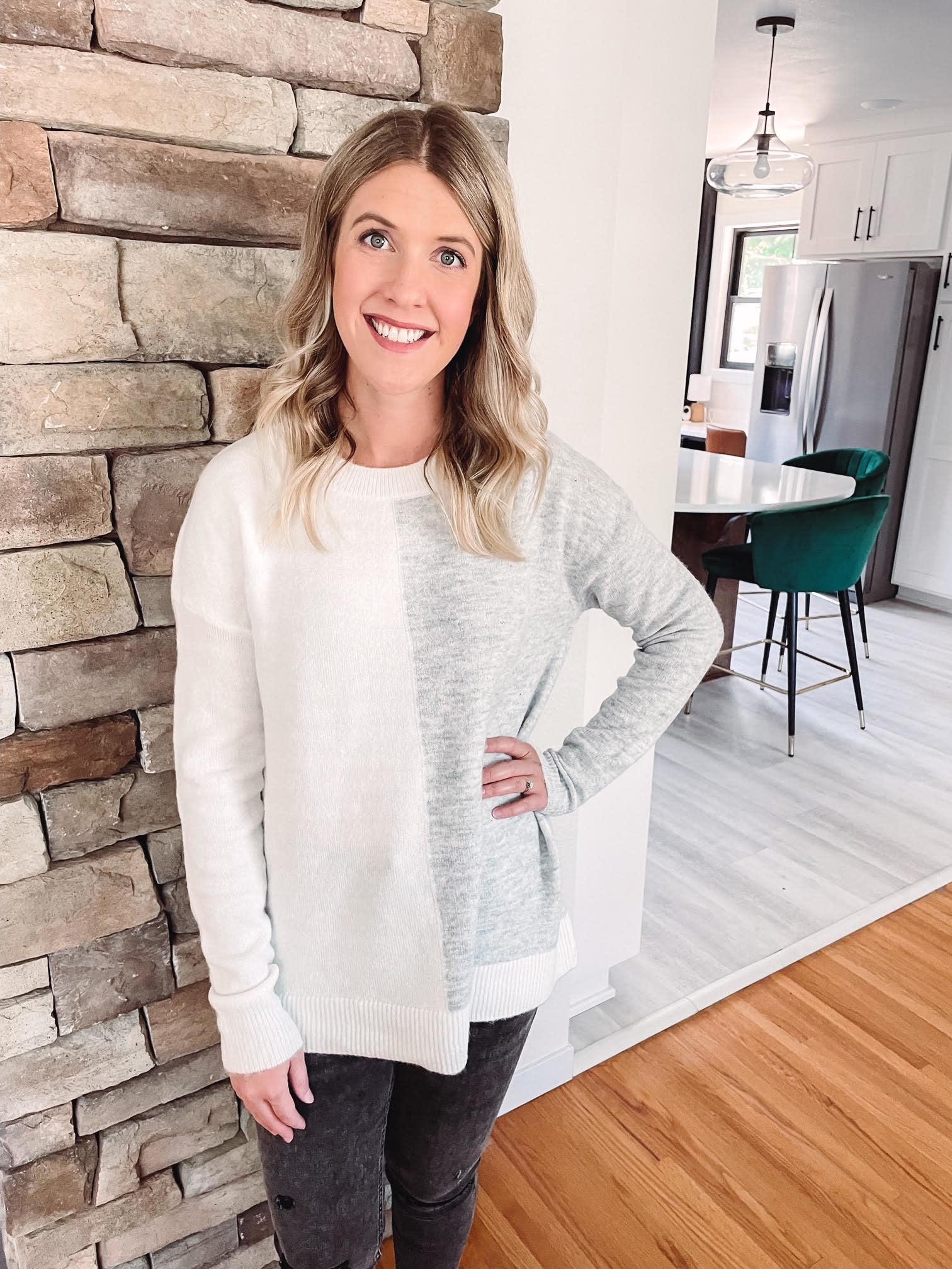 Kimberly Grey + White Sweater
