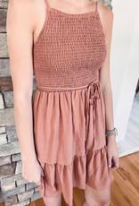 Kinsley Smocked Peach Dress