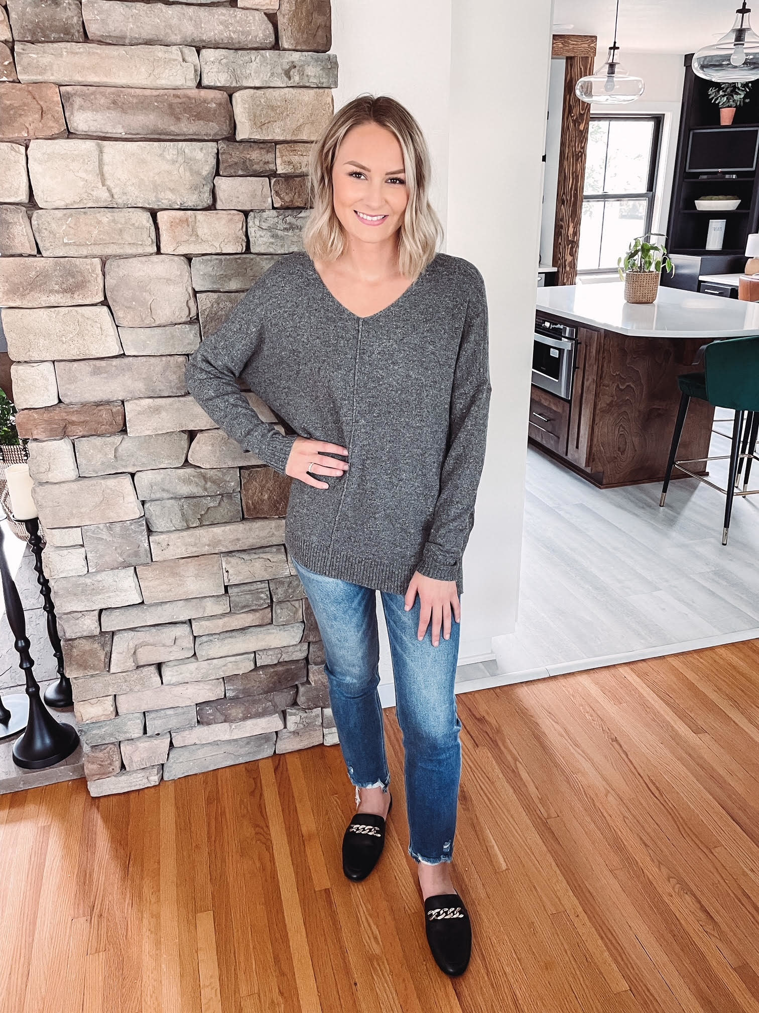 Sylvie Grey Confetti Sweater