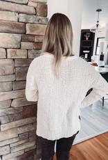 Emersyn White Waffle Knit Sweater
