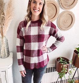 Amy Burgundy Buffalo Plaid Sweater