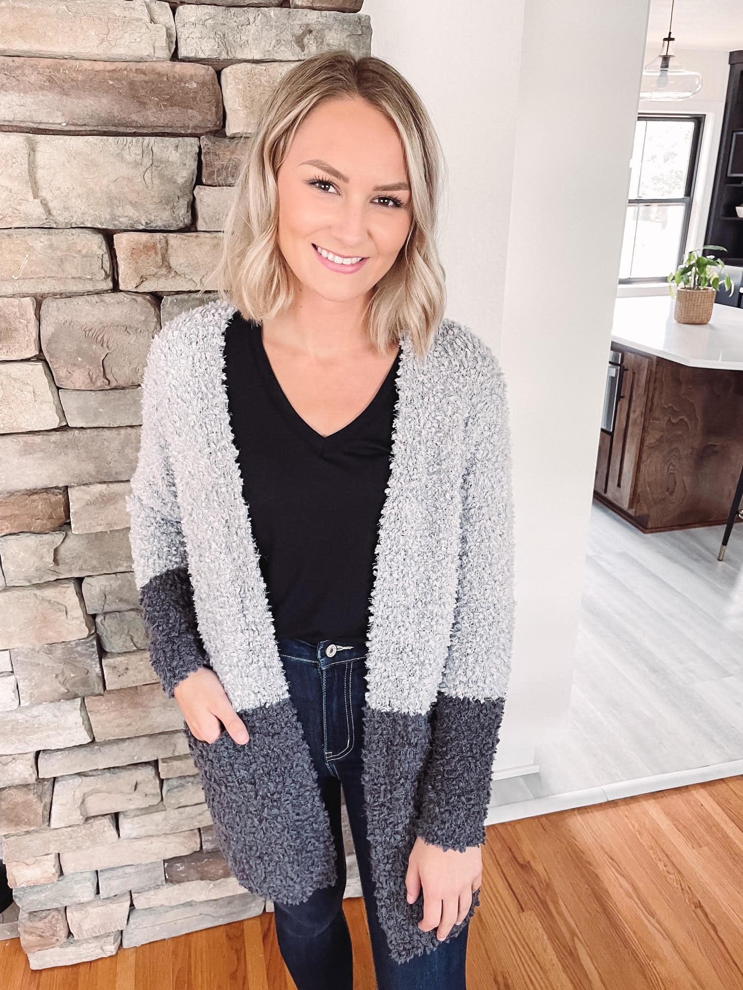 Grey + Charcoal Fuzzy Cardigan