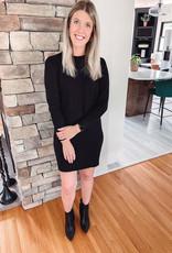 Black Puff Sleeve Sweater Dress