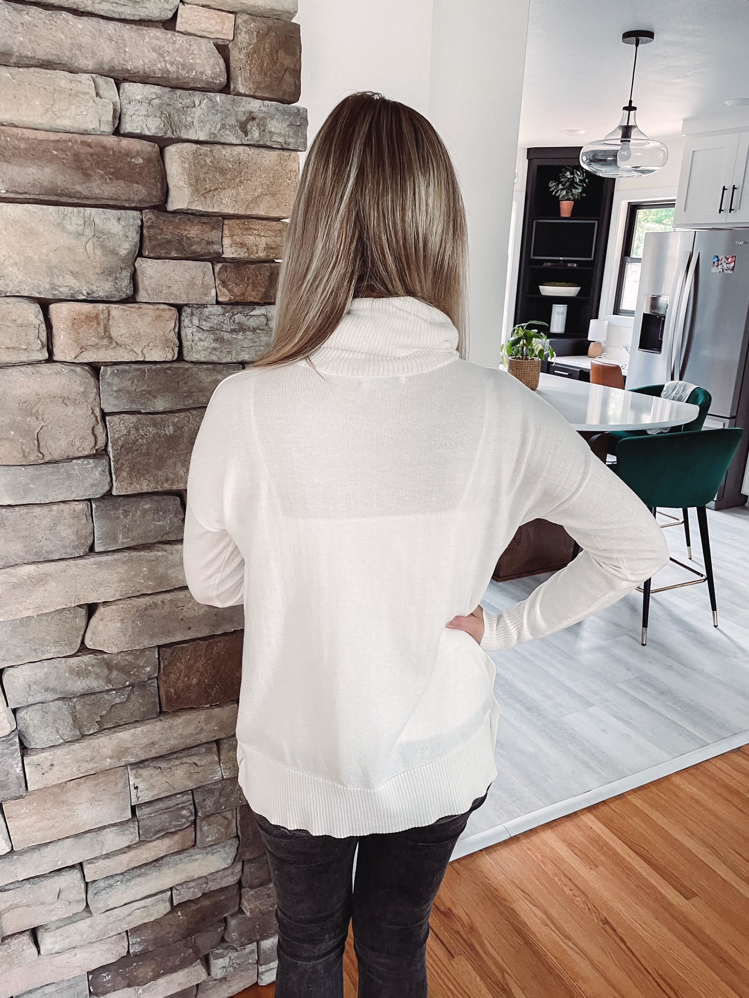 Mia Ivory Turtleneck With Buttons