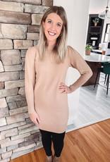 Taupe Puff Sleeve Sweater Dress