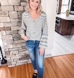Yellow + Blue Striped Knit Cardigan