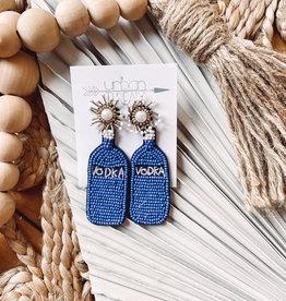 Blue Vodka Bottle Earrings