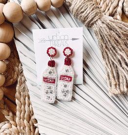 Red Vodka Bottle Earrings