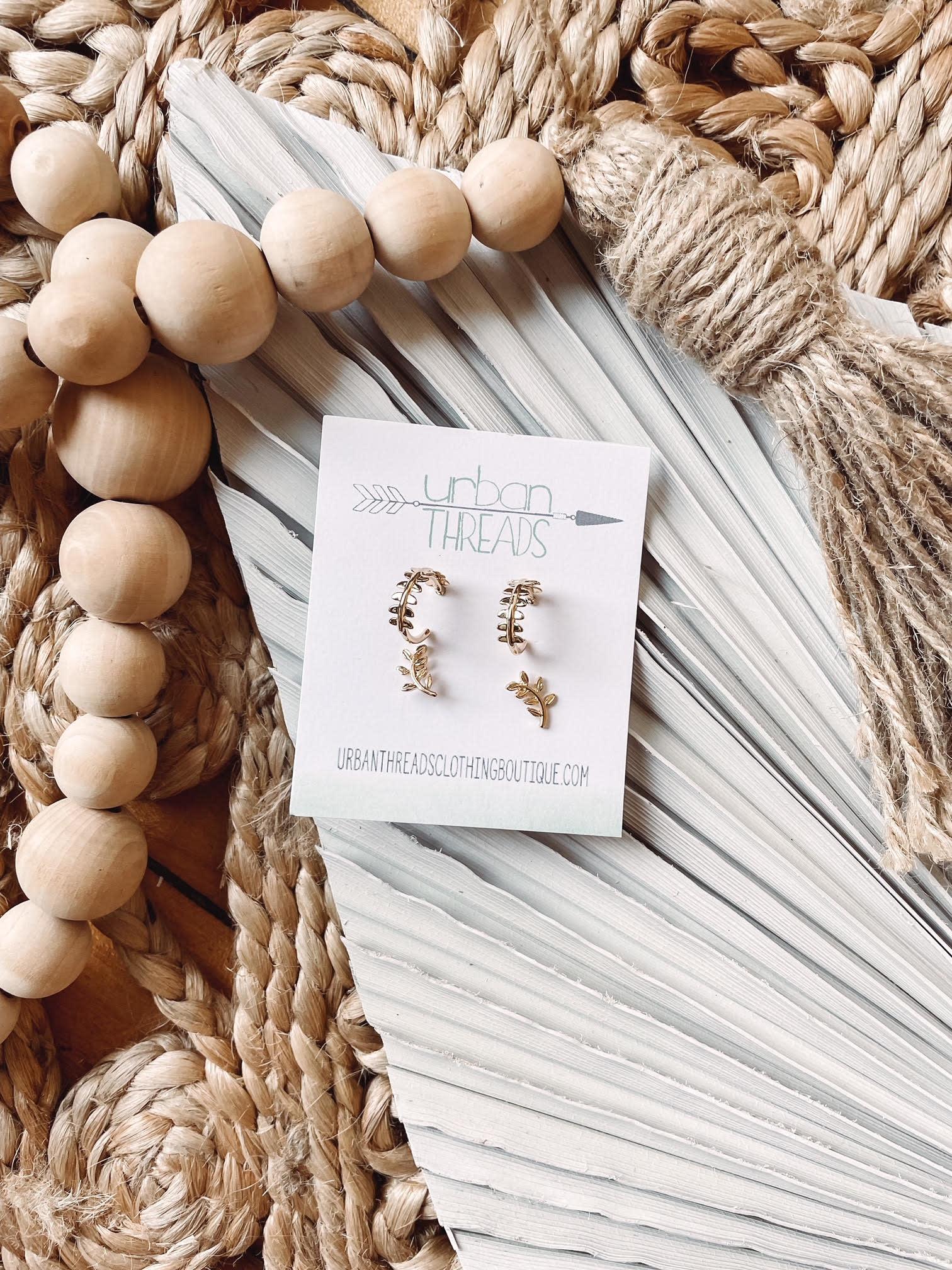 Abby Gold Vine Earring Set