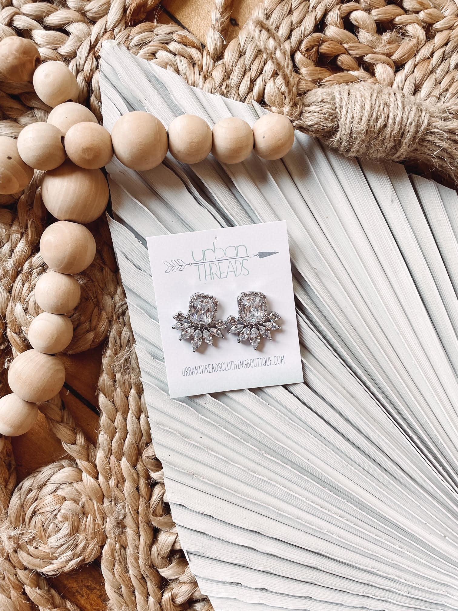 Isla Rhinestone Silver  Earrings