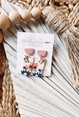 Clay Floral Rectangle Earrings