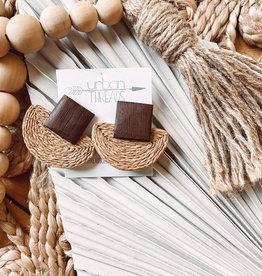 Khaki Wooden Braided Earrings