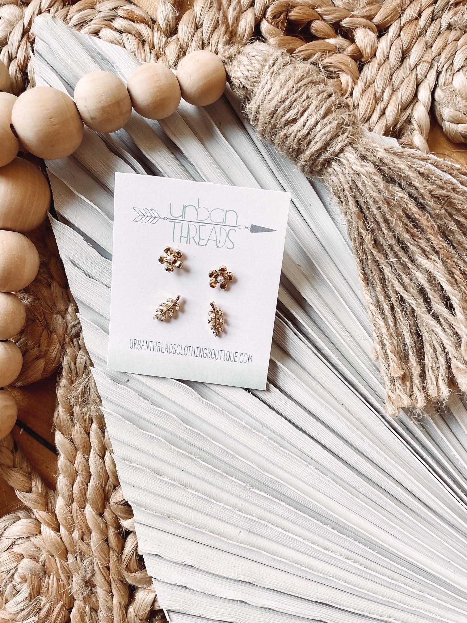 Emmy Flower + Leaf Earring Set