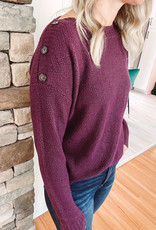 Eggplant Button Detailed Sweater