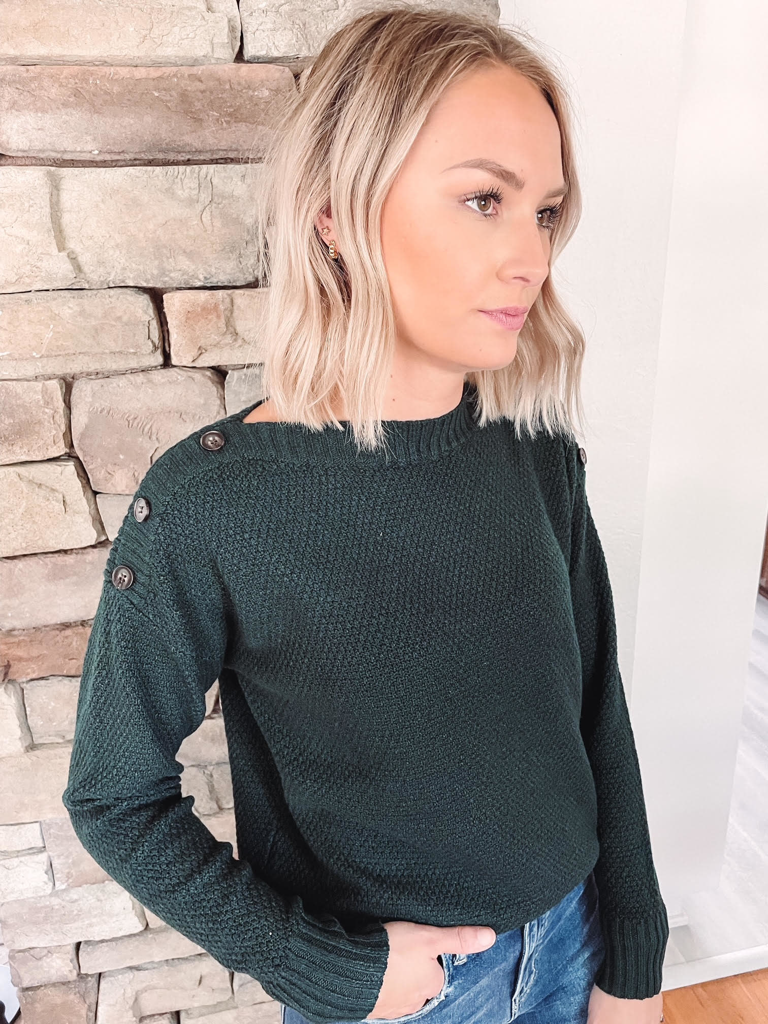 Forest Button Detailed Sweater