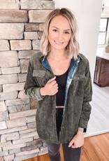 Eve Olive Corduroy Reversible Jacket