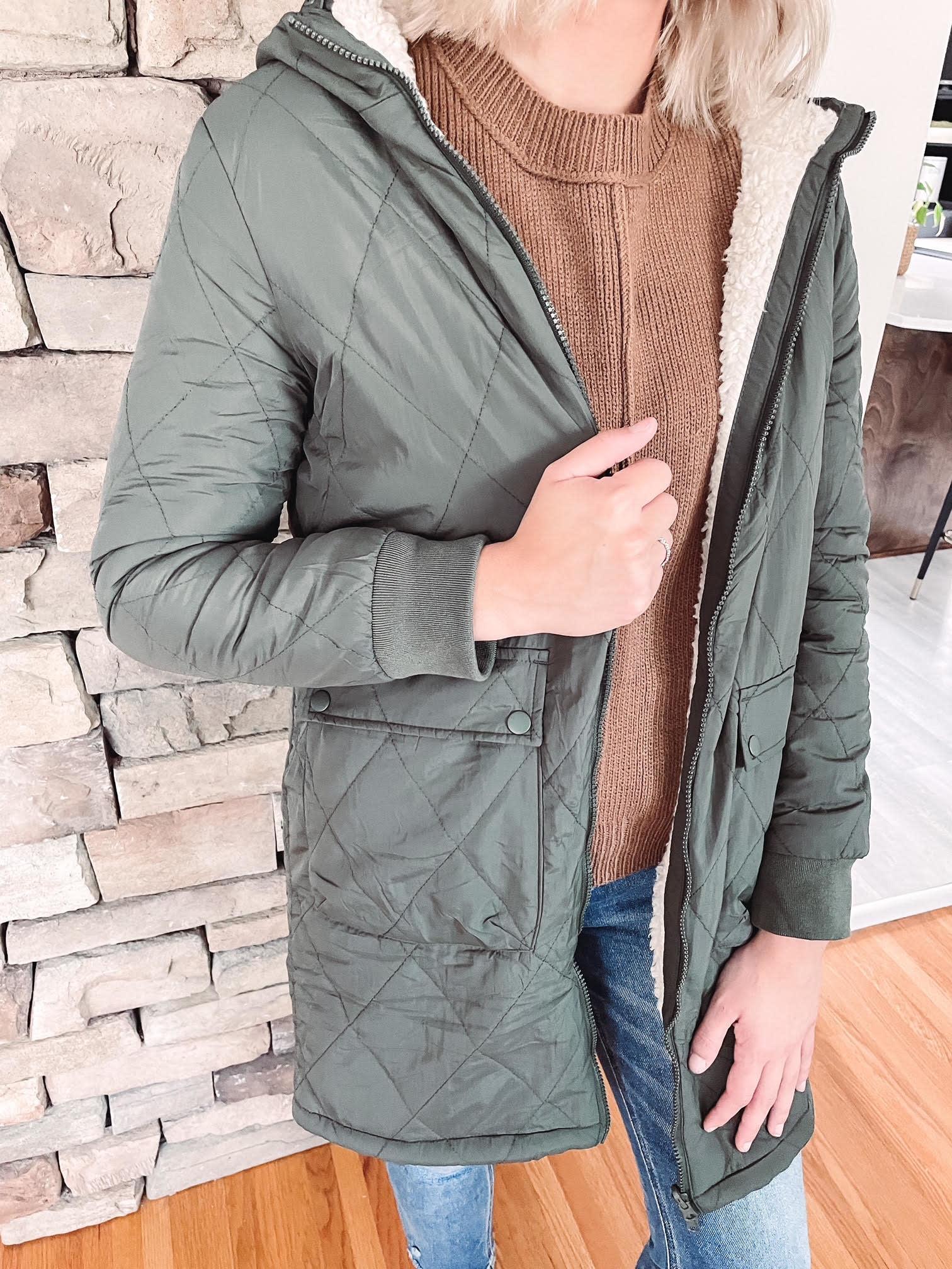 Ashlynn Olive Reversible Sherpa Coat