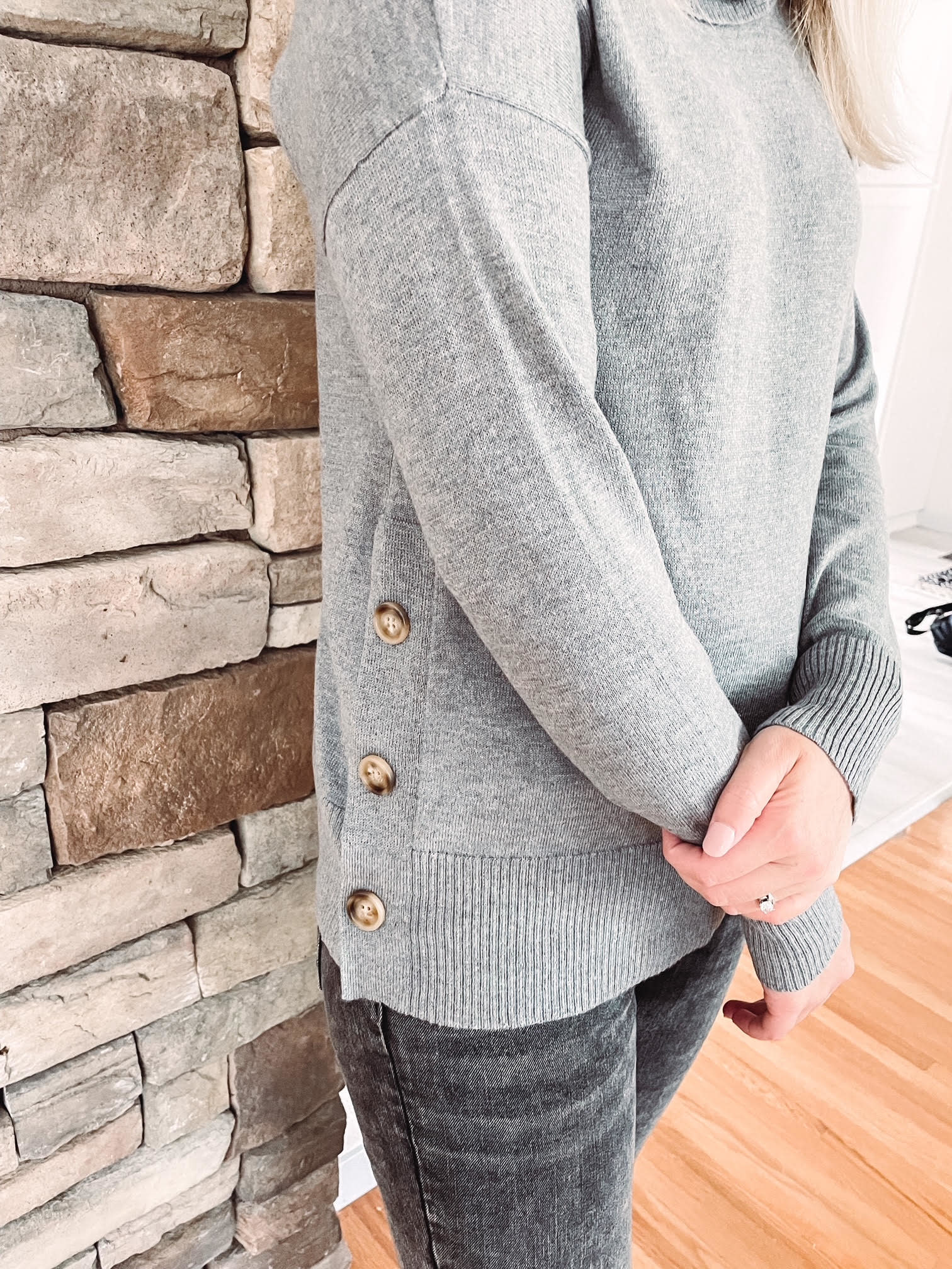 Mia Grey Turtleneck With Buttons